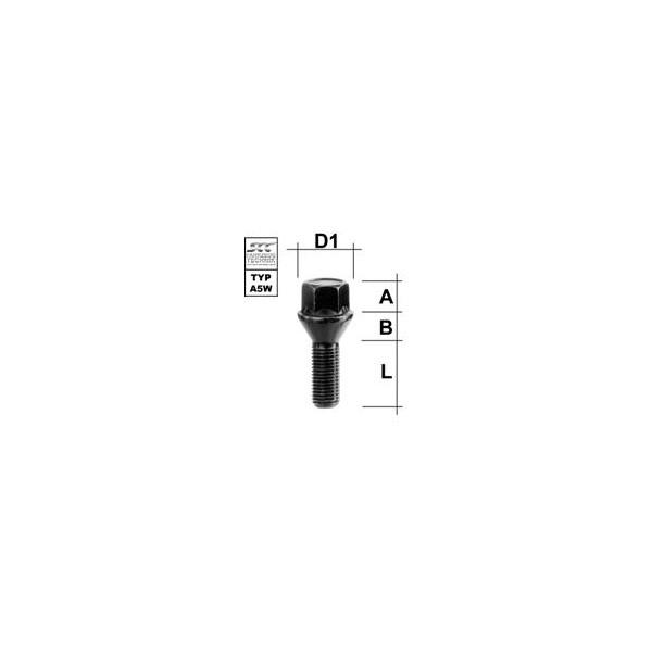Wielbout M12 x 1,5 40 Kegel Zwart