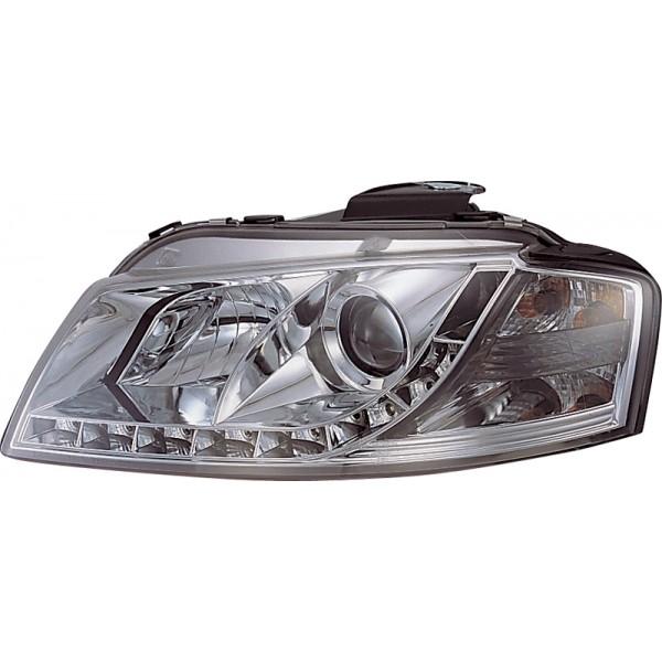Koplampen Audi A3 8P chroom met echte led dagrijlicht