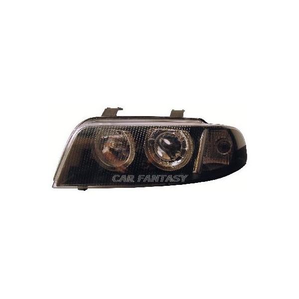 Koplampen Audi A4 99-01 Angel Eyes zwart