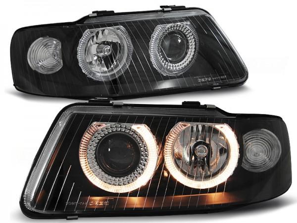 Koplampen Audi A3 8L 01-03 Angel Eyes Zwart