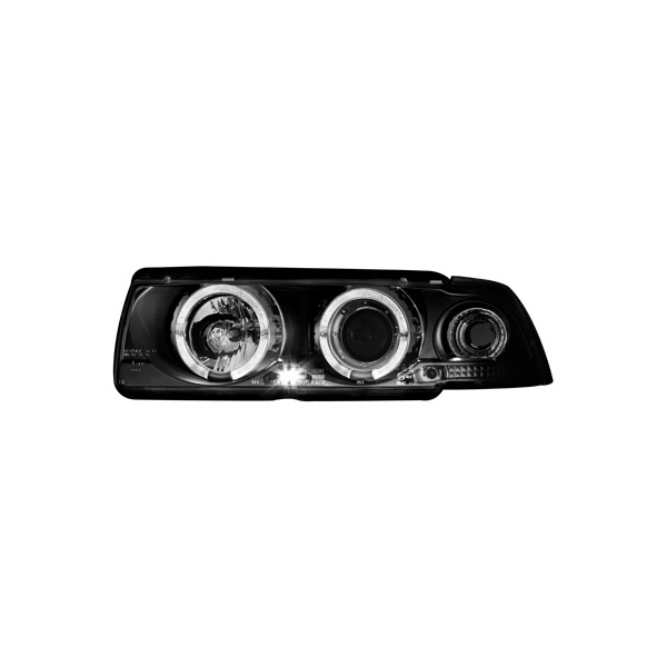 Koplampen BMW E36 coupe Angel Eyes Zwart
