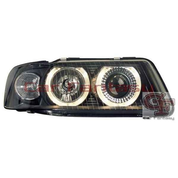Koplampen Audi A3 8L 01-03 Angel Eyes Zwart