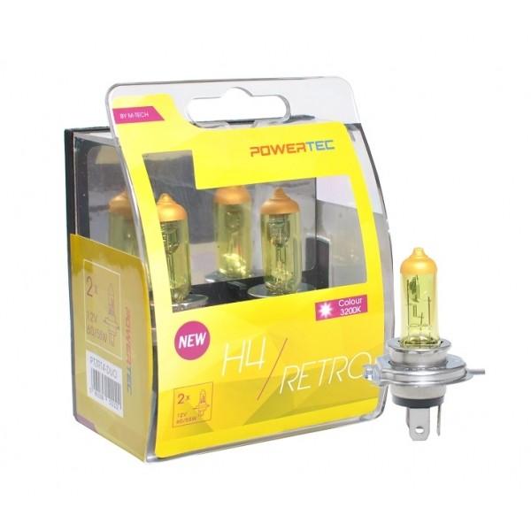 Geel Powertec Retro Yellow H4 12V DUO 3200K lampen E-keur