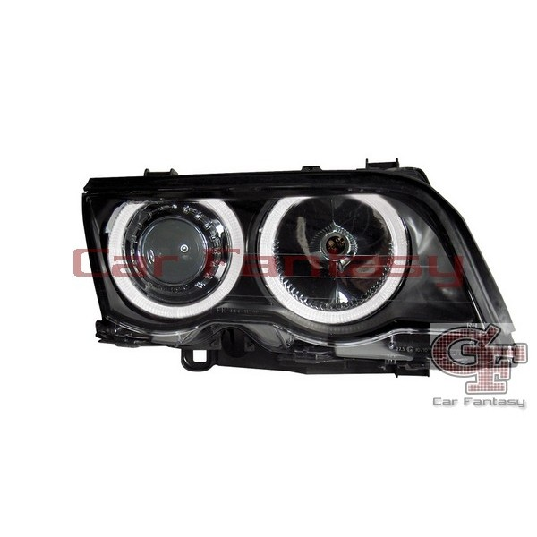 Koplampen BMW E46 coupe/cabrio Angel Eyes zwart
