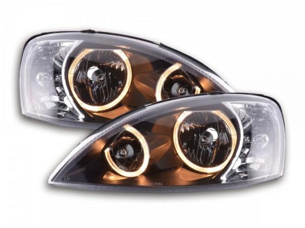 Koplampen Opel Corsa C Angel eyes zwart