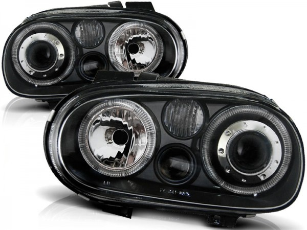 Koplampen VW Golf IV Angel Eyes zwart