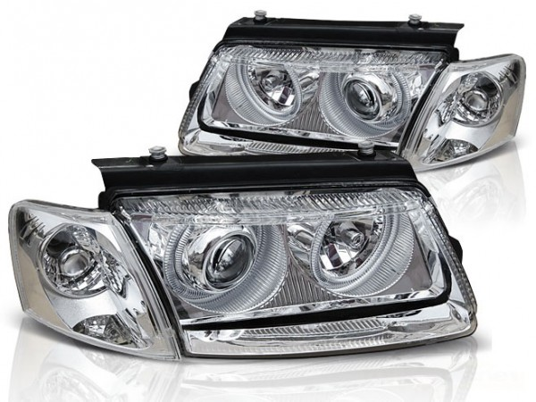 Koplampen VW Passat 3B 96-00 Angel Eyes Chroom