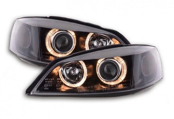 Koplampen Opel Astra G Angel Eyes zwart