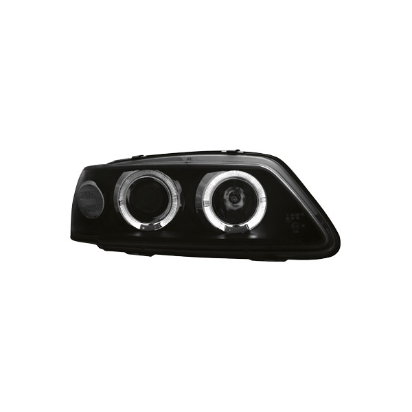 Koplampen Peugeot 306 93-97 Angel Eyes zwart