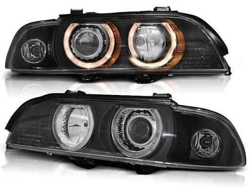 Koplampen BMW E39 Angel Eyes zwart