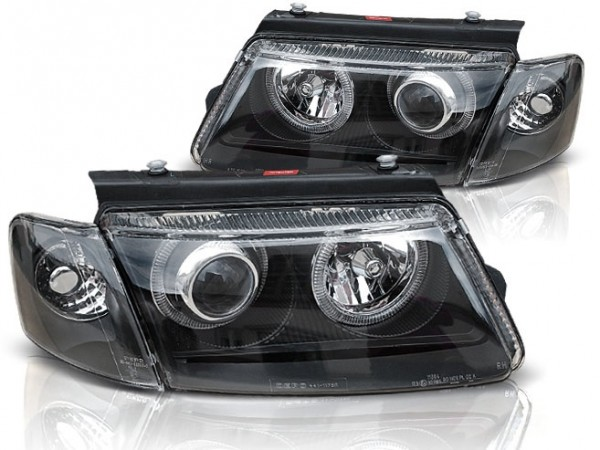 Koplampen VW Passat 3B 96-00 Angel Eyes zwart
