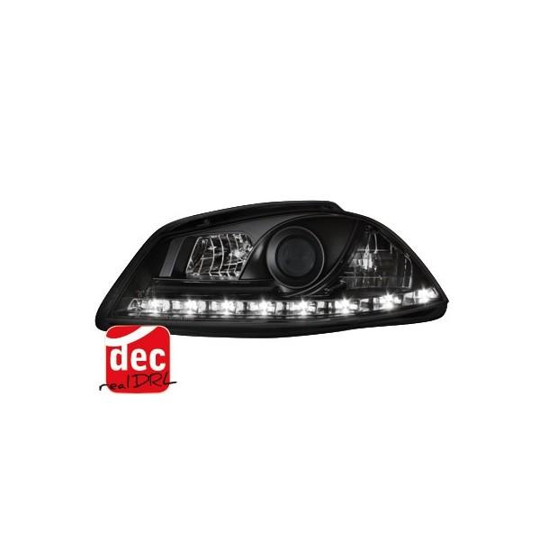 Koplampen Seat Ibiza 6L/Cordoba 03-08 Devil Eyes Dlite LED Zwart