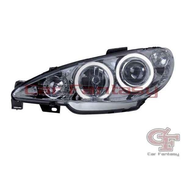 Koplampen Peugeot 206 Angel Eyes chroom